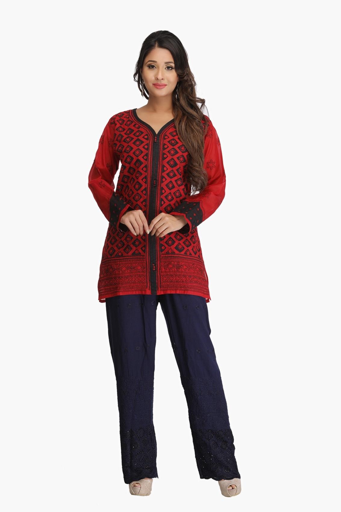 Ada Hand Embroidered Maroon Cotton Lucknowi Chikankari Top-A132260