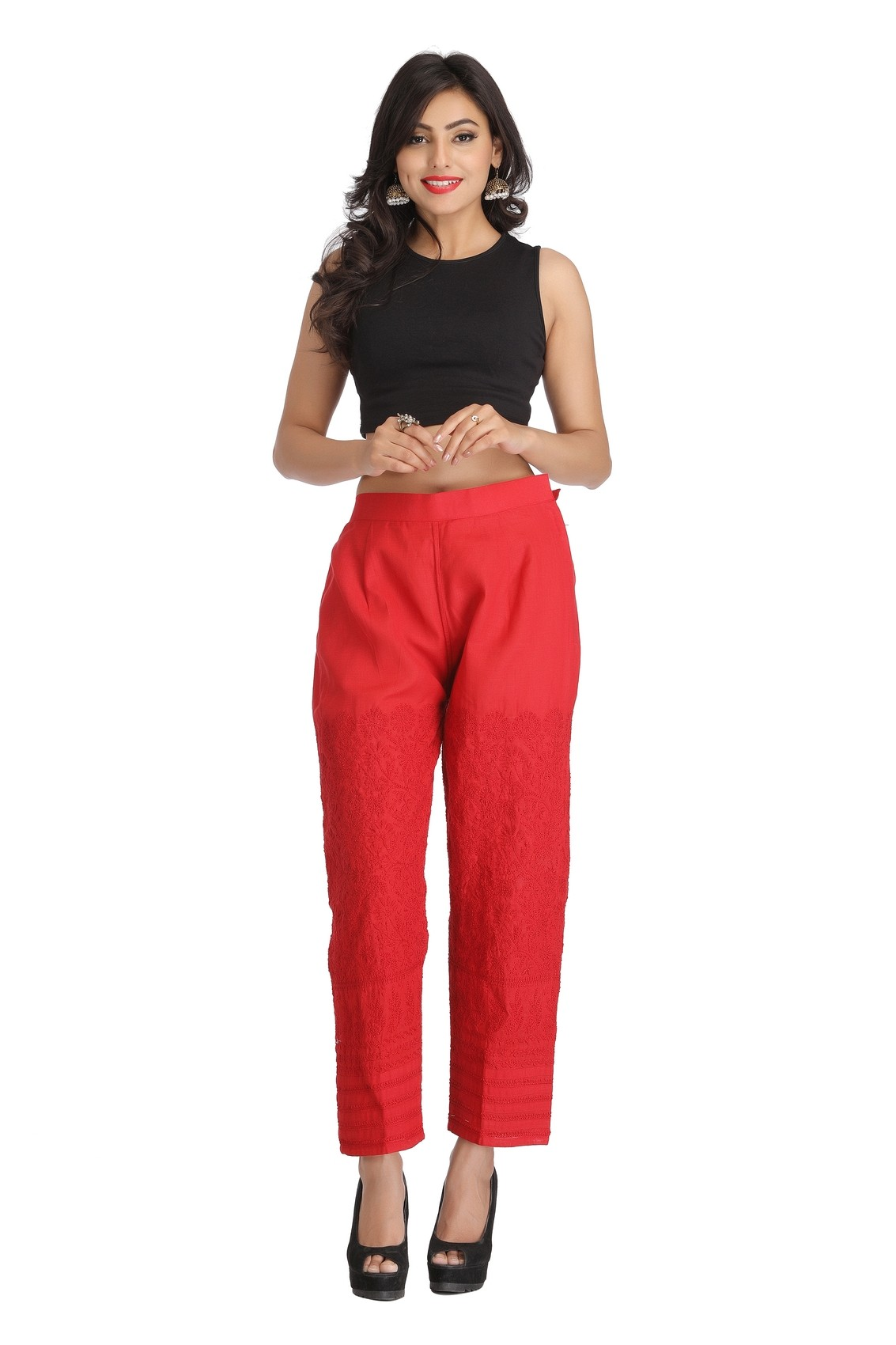 fiery red straight pants