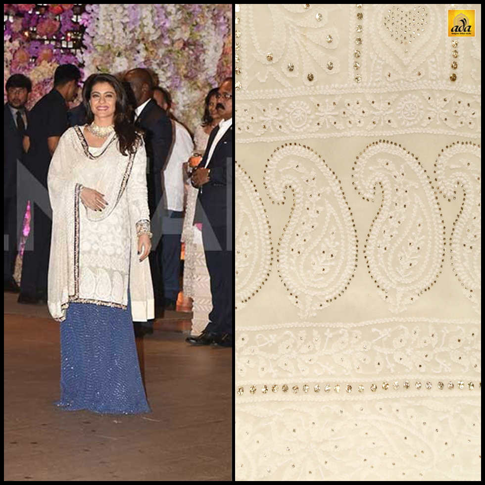 BOLLYWOOD ACTRESS KAJOL IN A WHITE AND MIDNIGHT BLUE CHIKANKARI ENSEMBLE WITH MUKAISH WORK. SHOP NOW WITH ADA