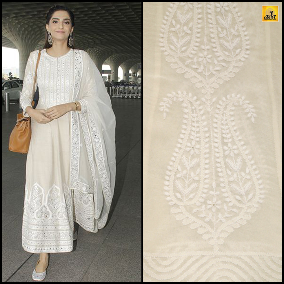 a124fd8eeb Sonam is painting a pretty picture in this off-white Anarkali chikankari  dress. She has kept her look simple by pairing beautiful jootis with the  Anarkali ...