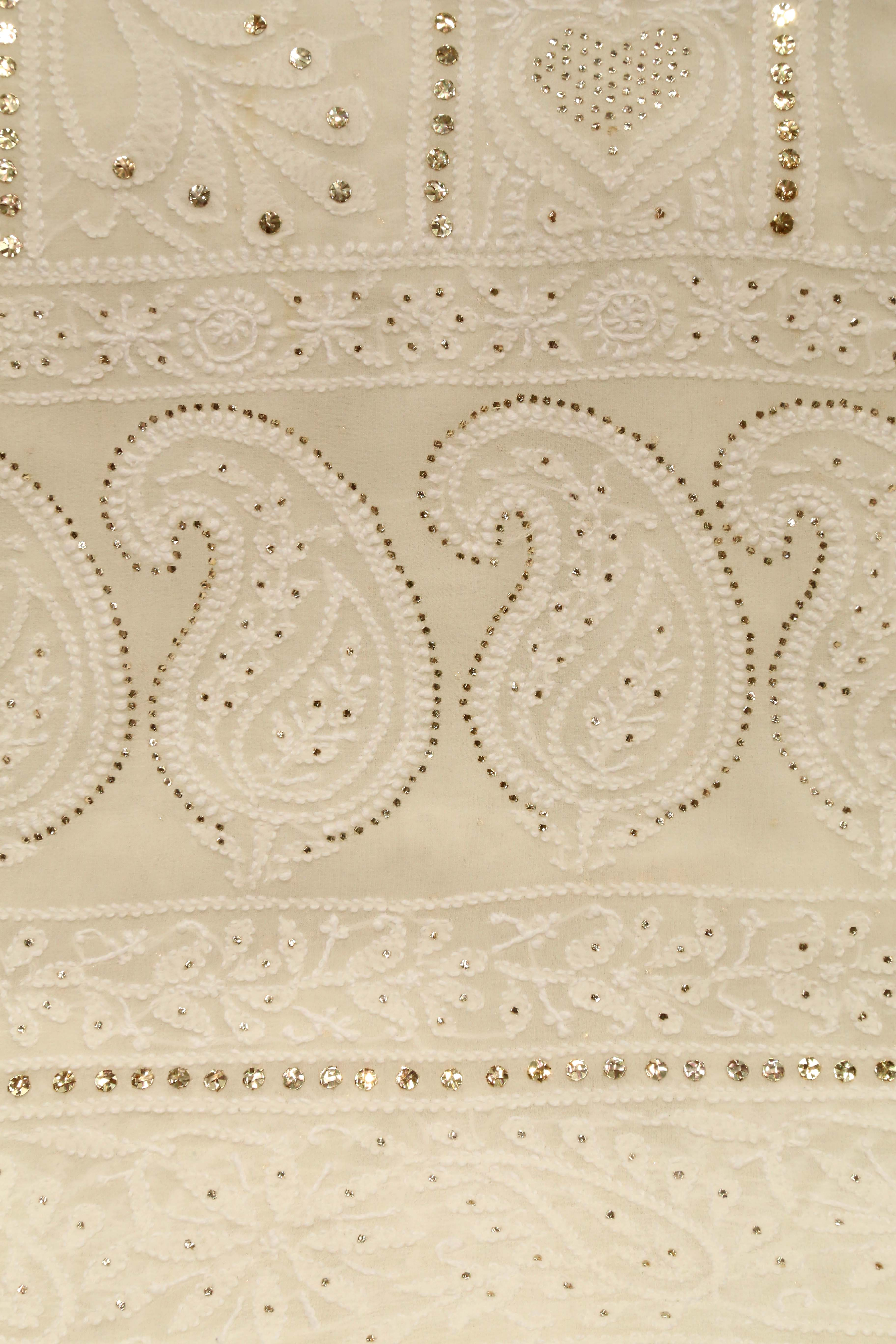 Mukaish and White Pure Georgette